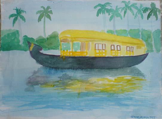 Kerala Houseboat | Kerala Kerala Sketch Book Urban Sketchers Mt Cherian Kerala India